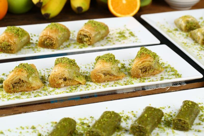 Baklava. Turkish baklava on the plate and beautiful background royalty free stock photo