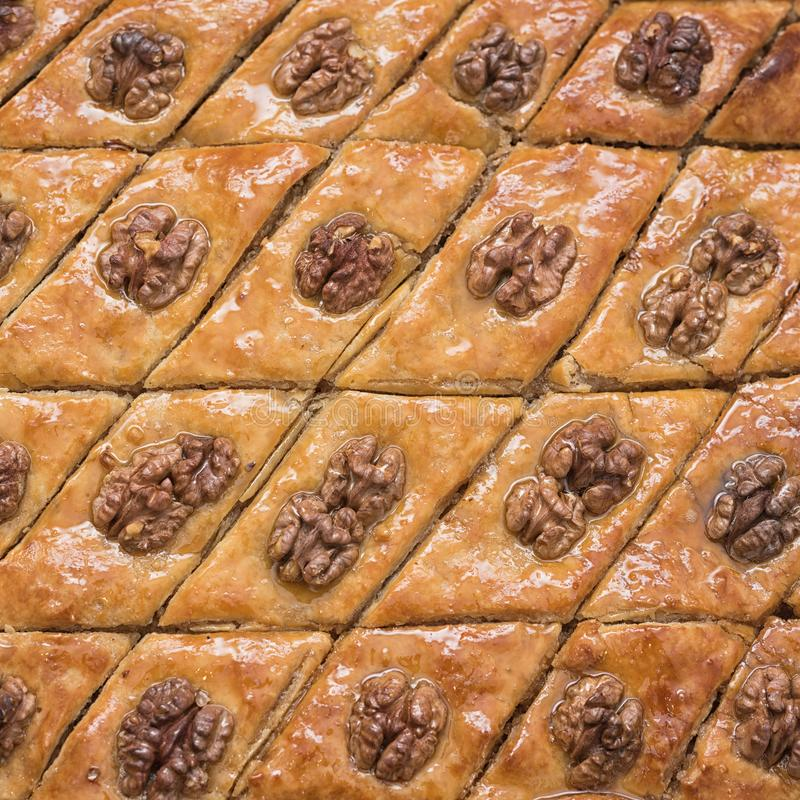 Turkish baklava with walnuts. Close-up. Traditional Oriental Dessert.  royalty free stock photos