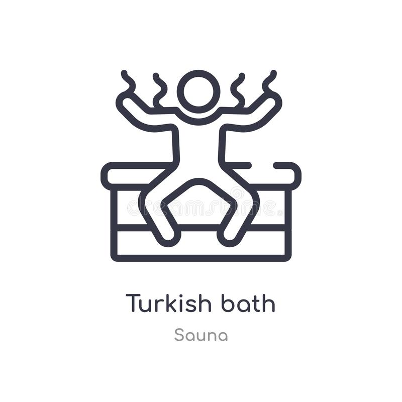 turkish bath outline icon. isolated line vector illustration from sauna collection. editable thin stroke turkish bath icon on vector illustration