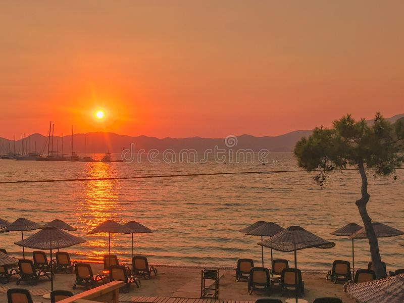 Turkish Bay Sunset Holiday Red Sun over The Water stock photos