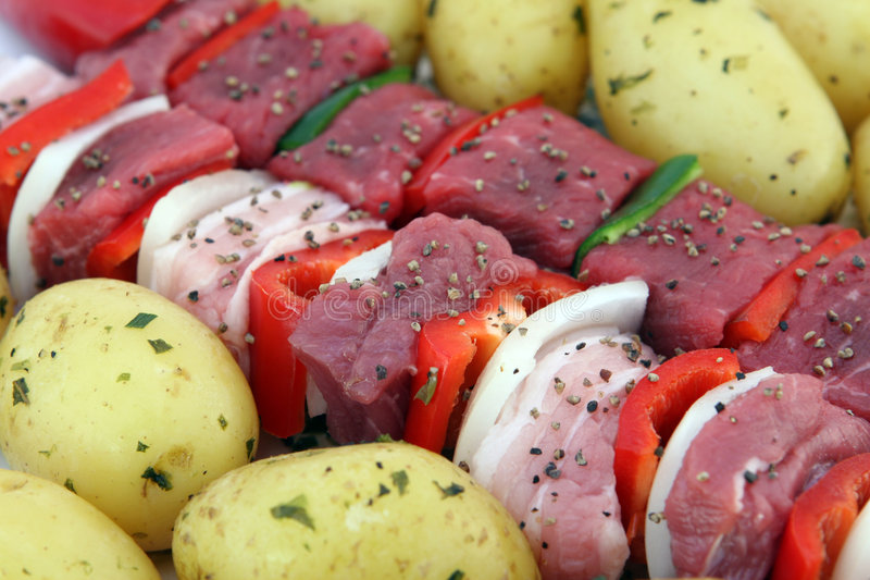 Download Turkish Beef, Lamb, And Pork Kebabs With Potato On Skewers Stock Photo - Image: 1126870