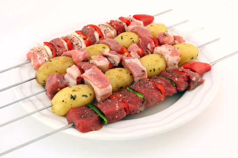 Download Turkish Beef, Lamb, And Pork Kebabs With Potato On Skewers Stock Photo - Image of healthy, colorful: 1126890