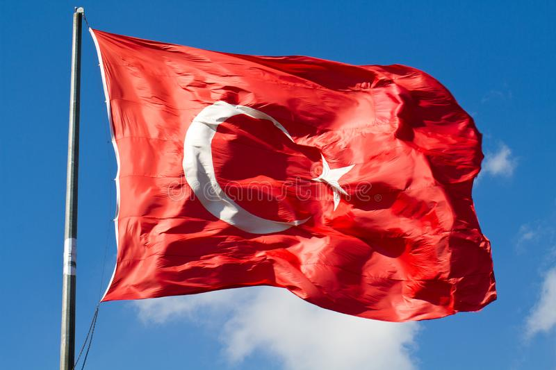 Turkish big flag stock photo