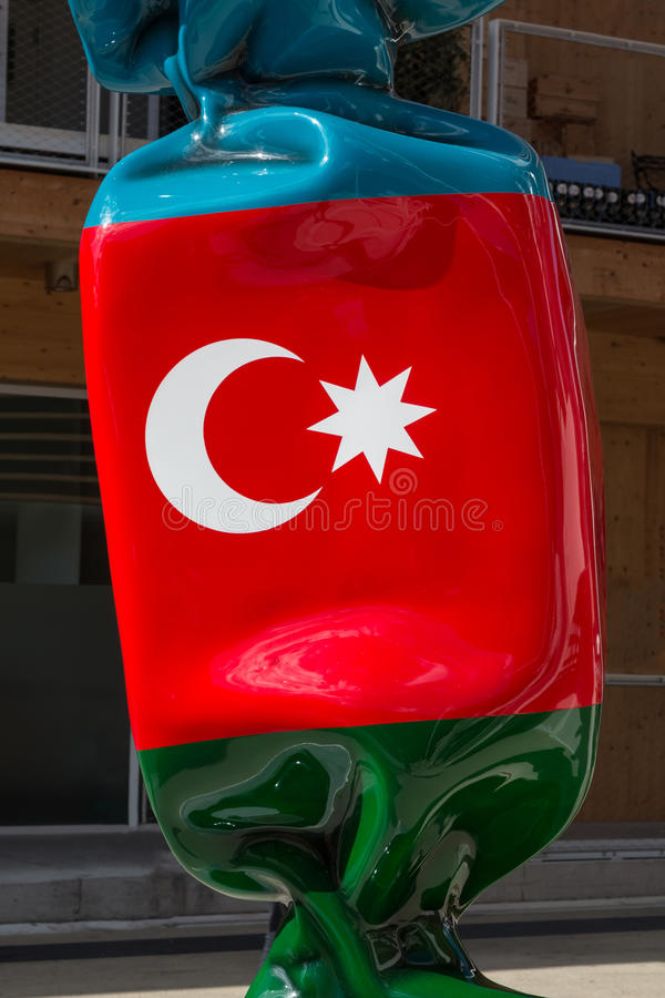Turkish Big Statue& x27;s Flag Candy Shaped. Turkish Big Sculpture& x27;s Flag Candy Shaped at 2015 universal Exposition In Milan, Italy royalty free stock photo