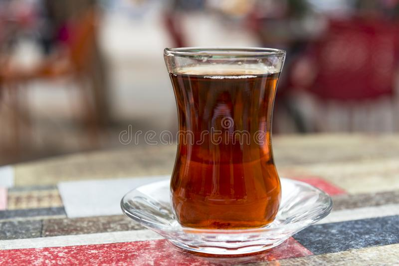 Turkish black tea on the cafe table stock image