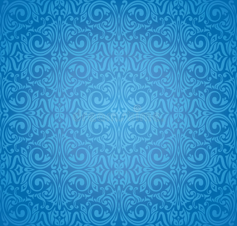 Turkish blue vector pattern wallpaper design background stock illustration