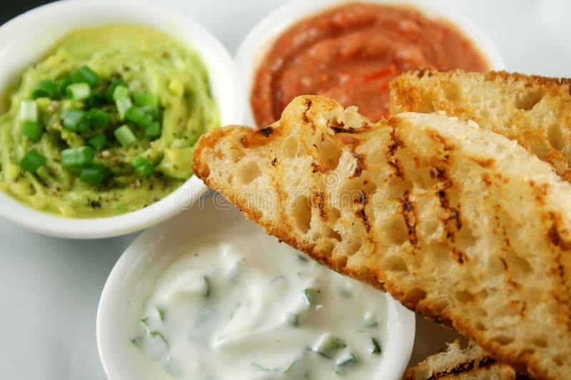 Turkish Bread And Dips 6 stock image