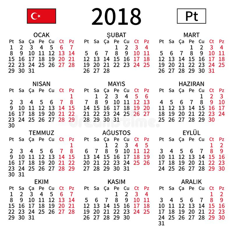 Turkish calendar 2018, Monday royalty free stock images