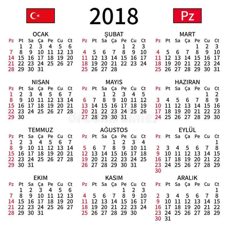 Turkish calendar 2018, Sunday stock image