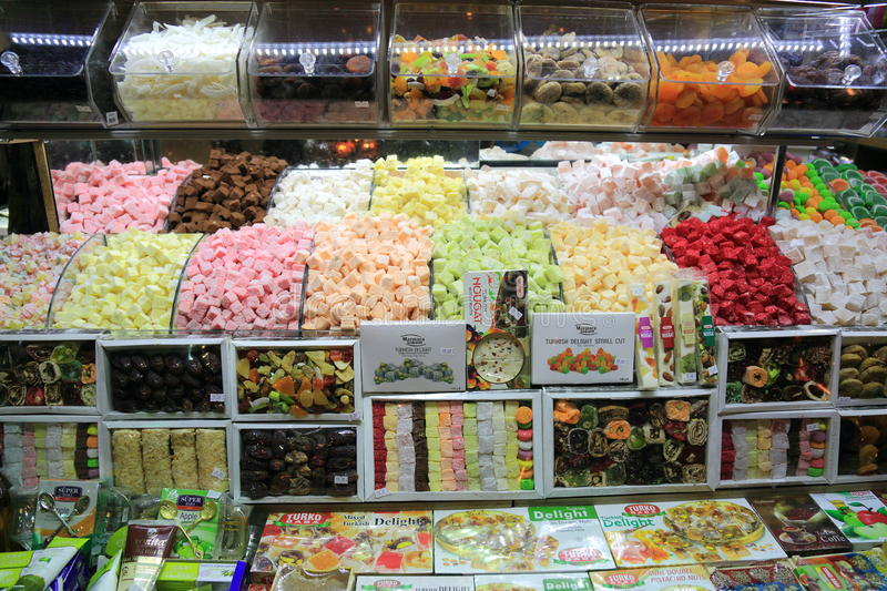 Turkish candy. Solde in the Grand bazaar in Istanbul, Turkey royalty free stock image