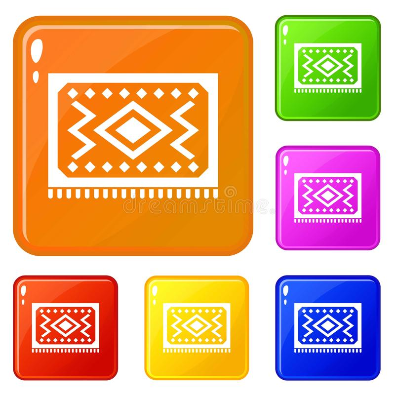 Turkish carpet icons set vector color. Turkish carpet icons set collection vector 6 color isolated on white background stock illustration
