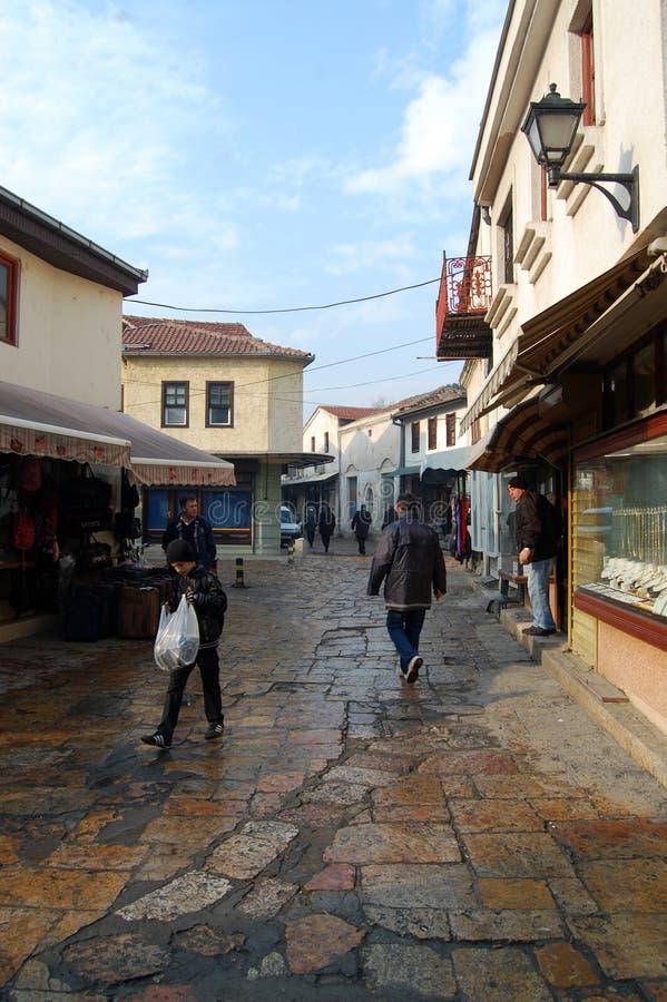 Turkish charshiya, old bazaar in Skopje. Pic of a Turkish charshiya, old bazaar in Skopje, 12 january 2013 royalty free stock photography