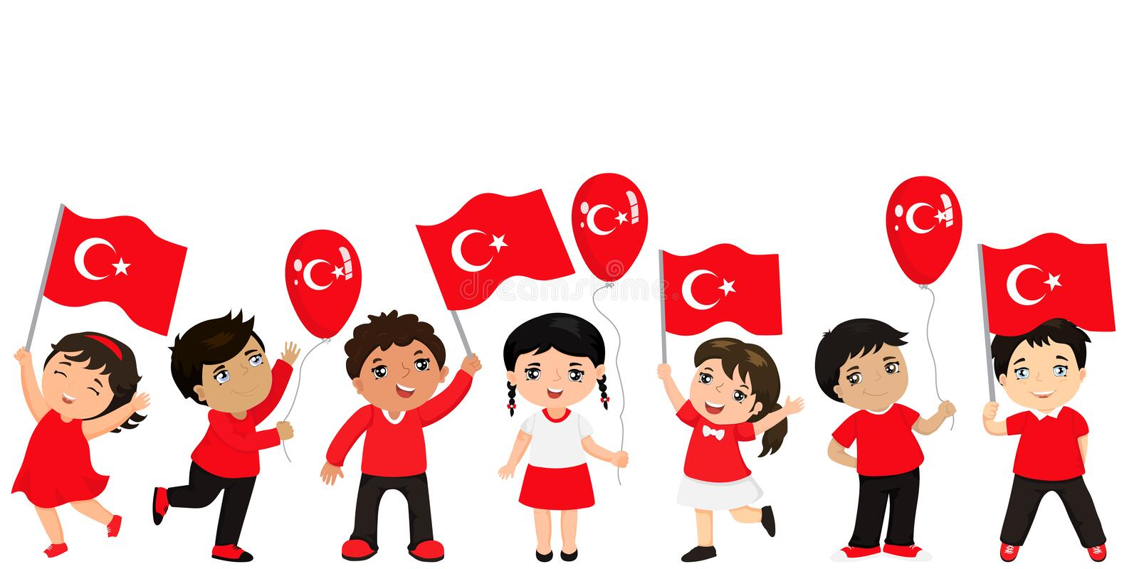Funny kids of different races with various hairstyles with flags. graphic design to the Turkish holiday. vector illustration