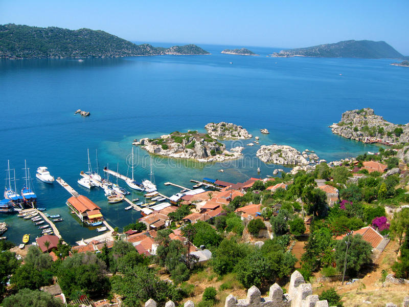 Turkish coast. A view of the Turkish coast from the Simena Castle in the village of Kalekoy stock photography