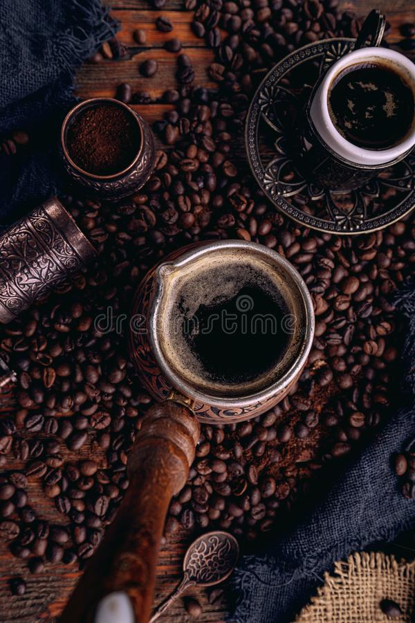 Turkish coffee in a copper Turks royalty free stock image