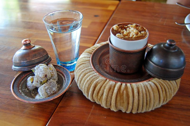 Turkish coffee with hazelnut stock images