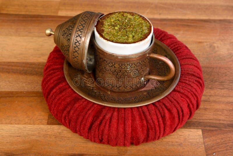Turkish coffee with hazelnut royalty free stock photos