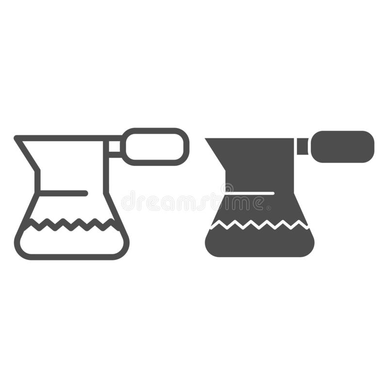Turkish coffee pot line and glyph icon. Cezve for coffee vector illustration isolated on white. Drink outline style royalty free illustration