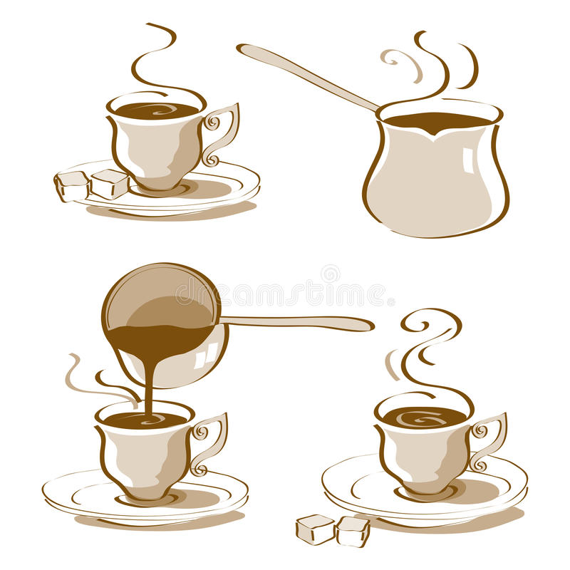 Download Turkish Coffee Vector stock vector. Image of line, black - 37045997