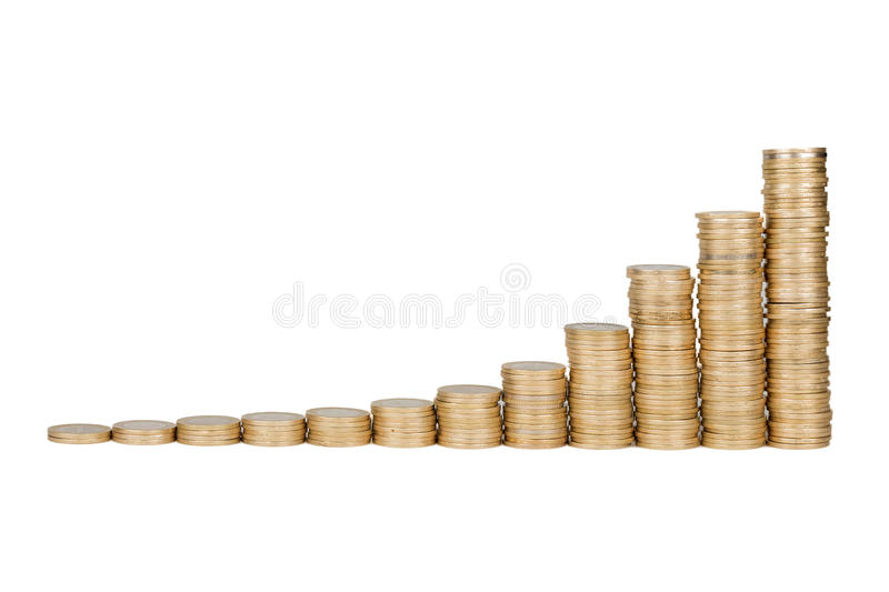 Download Turkish Coins Raising Chart In Isolated White Background Stock Images - Image: 37884754