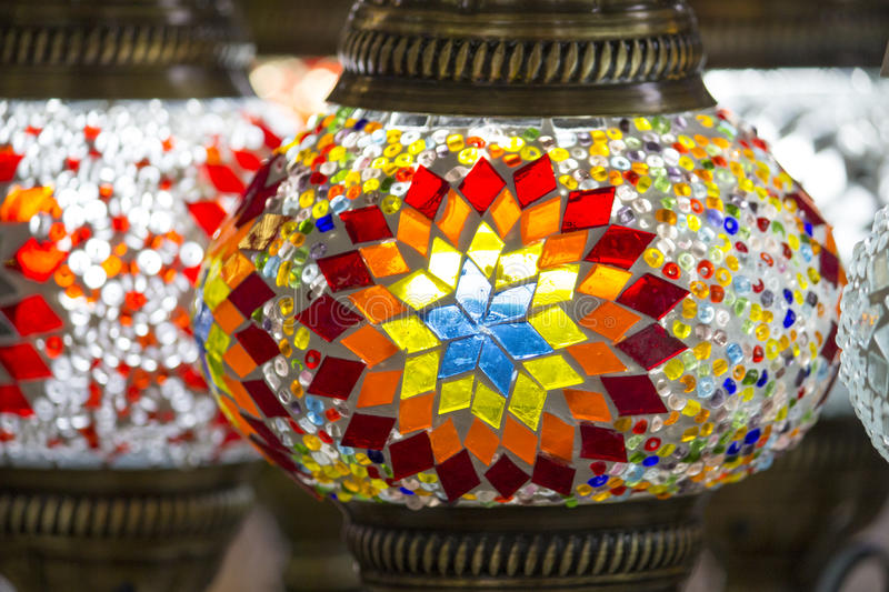 Turkish colorful lamps with glass mosaics for sale on Bazaar, traditional crafted in Turkey royalty free stock image