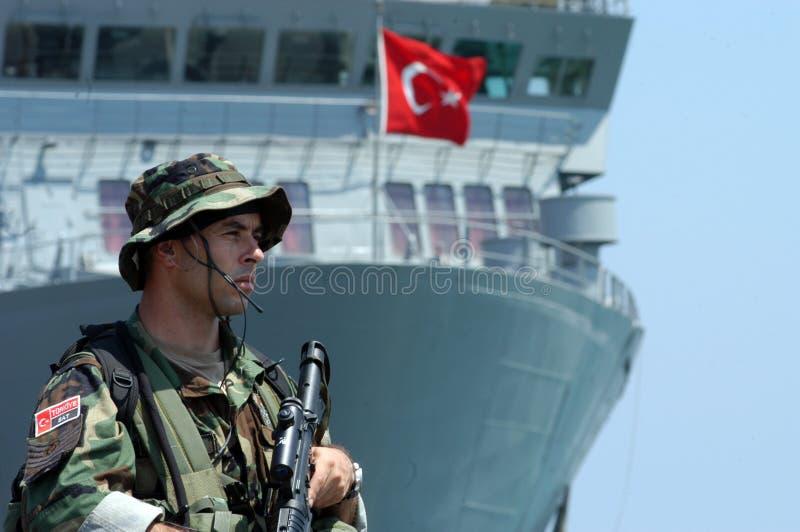 Turkish Commandos. Sat at the port of Beirut,Lebanon stock image