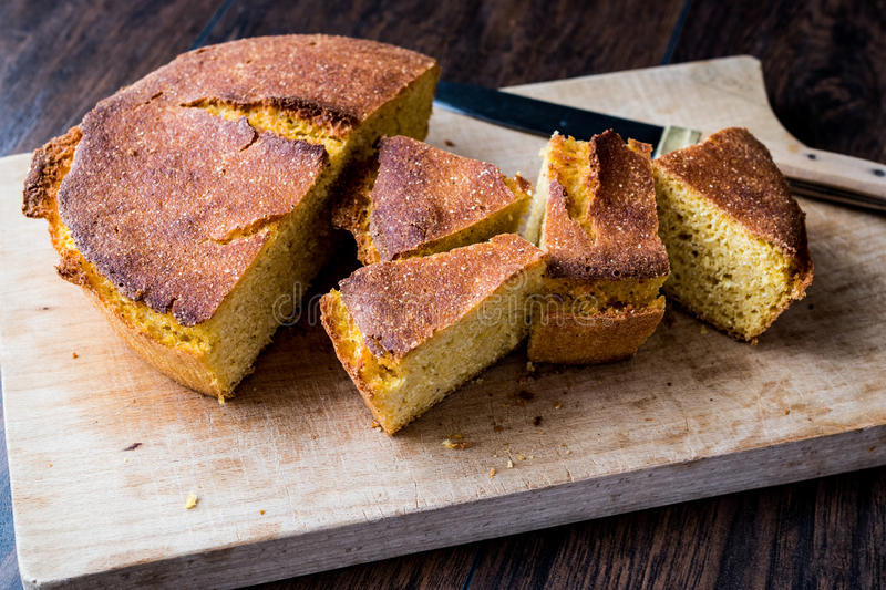 Turkish Cornbread / Misir Ekmegi on wooden surface. Organic food royalty free stock photo