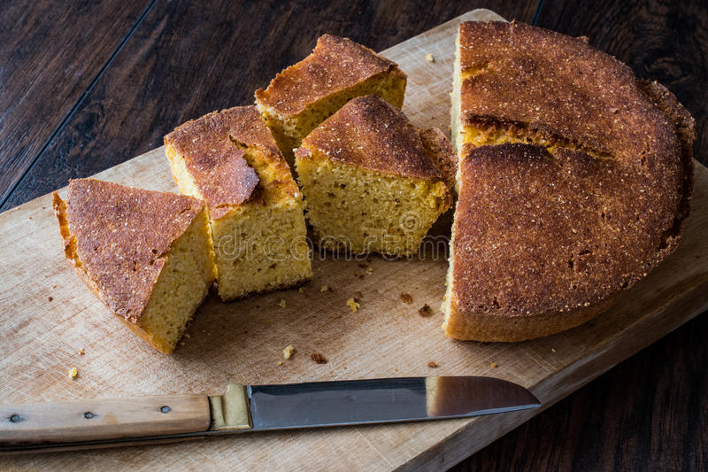 Turkish Cornbread / Misir Ekmegi on wooden surface. Organic food stock photos