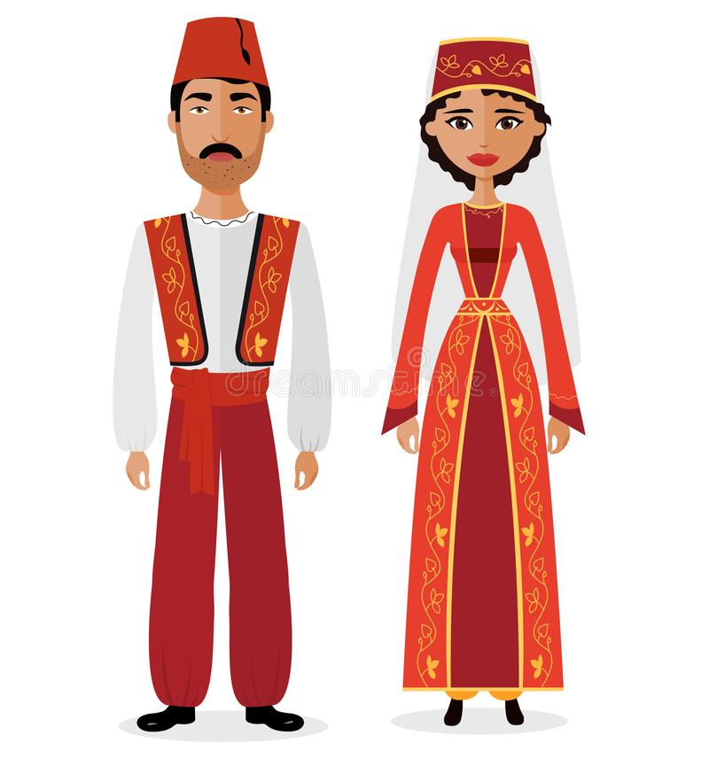 Turkish couple man and woman in traditional clothes vector illustration eps 10 stock illustration