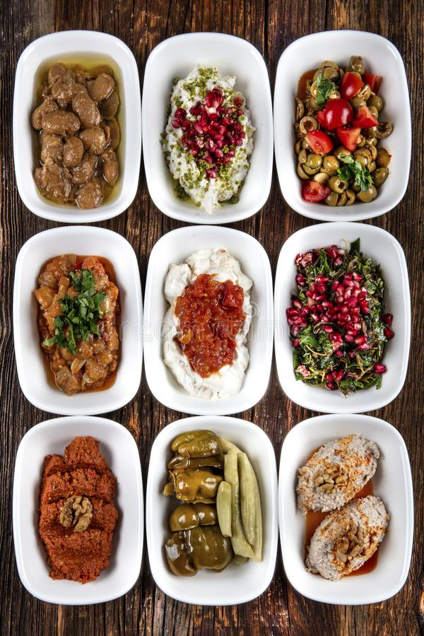 Turkish Cuisine Cold Appetizers appetizers with olive oil royalty free stock image