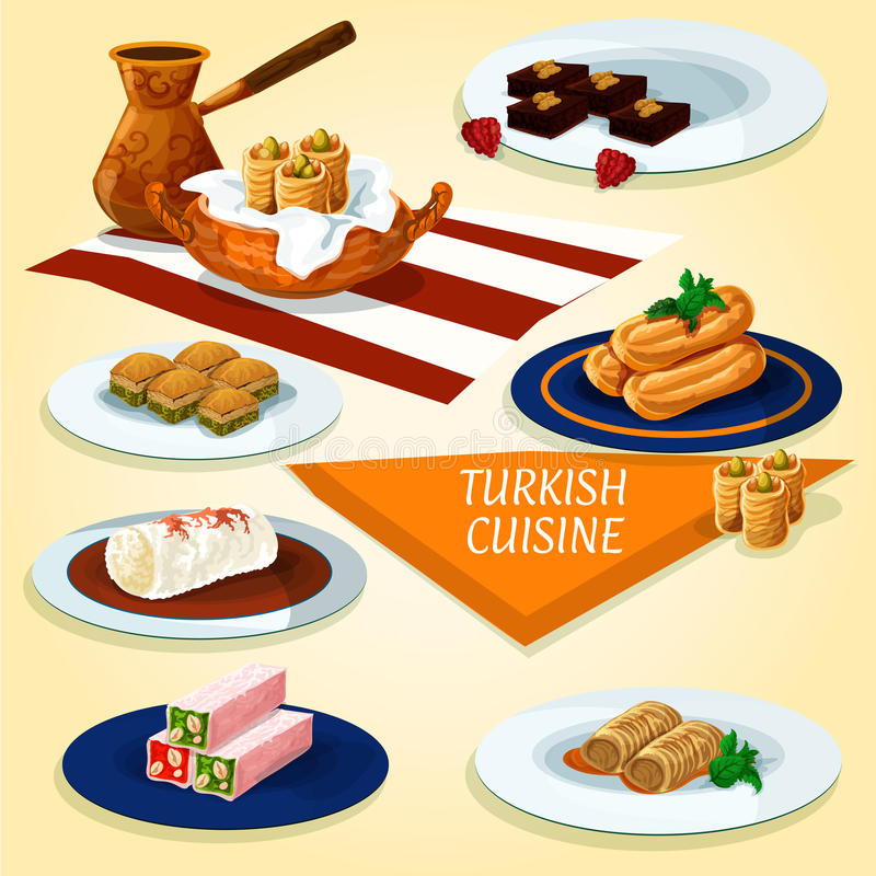 Turkish cuisine delights and desserts icon. Turkish cuisine delights and dessert pastry icon with coffee, nut and honey nougat, pistachio baklava, butter cookies stock illustration