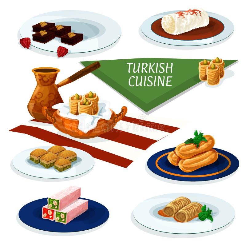 Turkish cuisine desserts menu cartoon icon. Turkish and ottoman cuisine desserts with coffee cartoon icon of nut and honey nougat, pistachio baklava, chocolate stock illustration