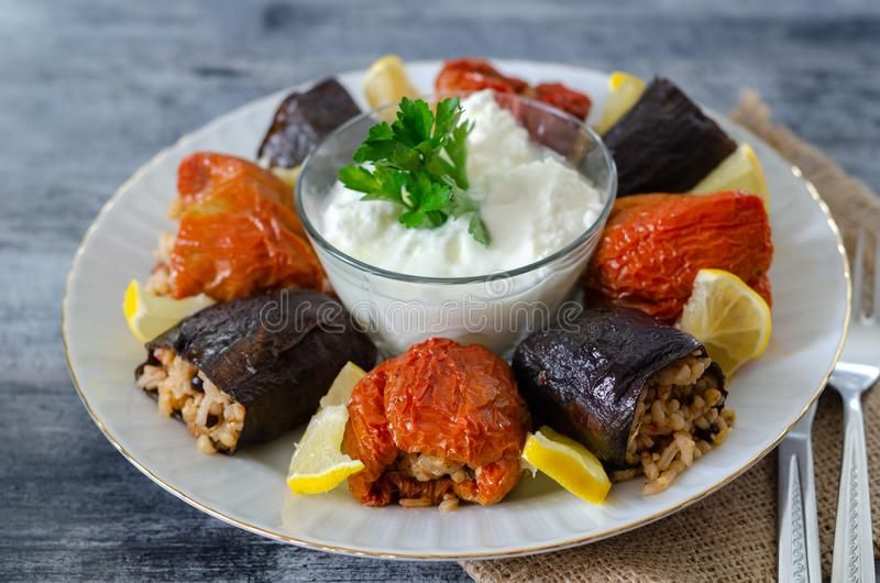 Turkish cuisine - DOLMA - Homemade stuffed dried eggplant and royalty free stock photography