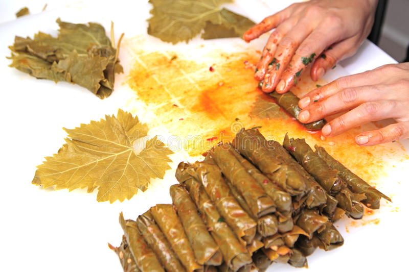 Turkish cuisine. Homemade Sarma - Rice wrapped in grape leaves.  stock images