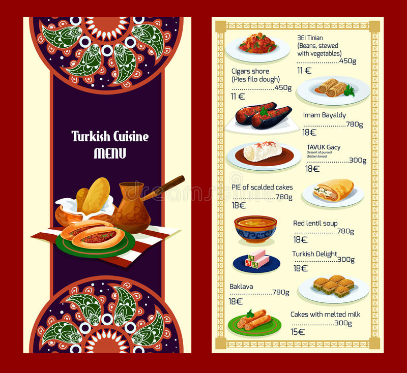 Turkish cuisine menu with delights and meat dishes. Turkish cuisine restaurant menu with traditional delights and meat dishes. Coffee, baklava, meat pie pide stock illustration
