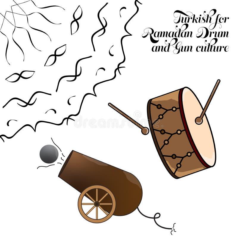 Turkish for Ramadan Drum and Gun culture vector illustration