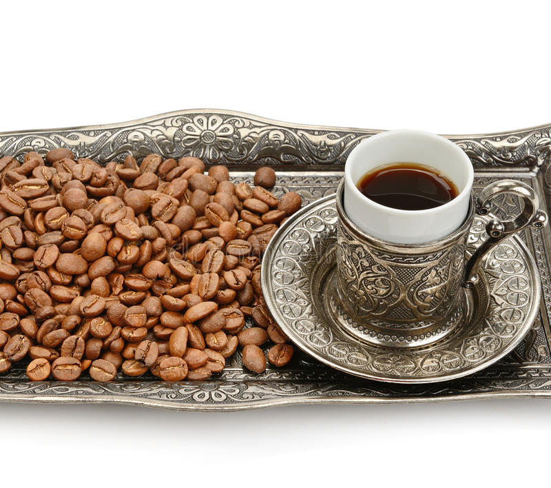 Turkish cup and coffee grain stock images