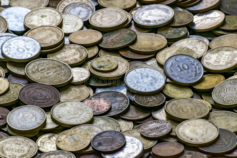 Turkish currency of different years. Metal coins. Retro or vintage money background. Big pile of old coins.  stock photography