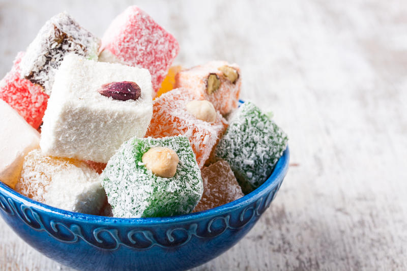 Turkish delight. Assorted turkish delight in a bowl stock photo