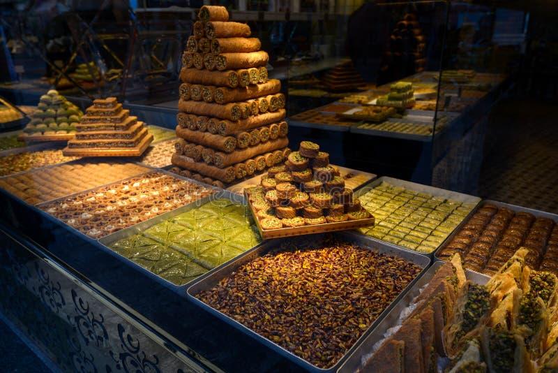 Turkish delight, baklava. Showcases, eastern sweets stock photos