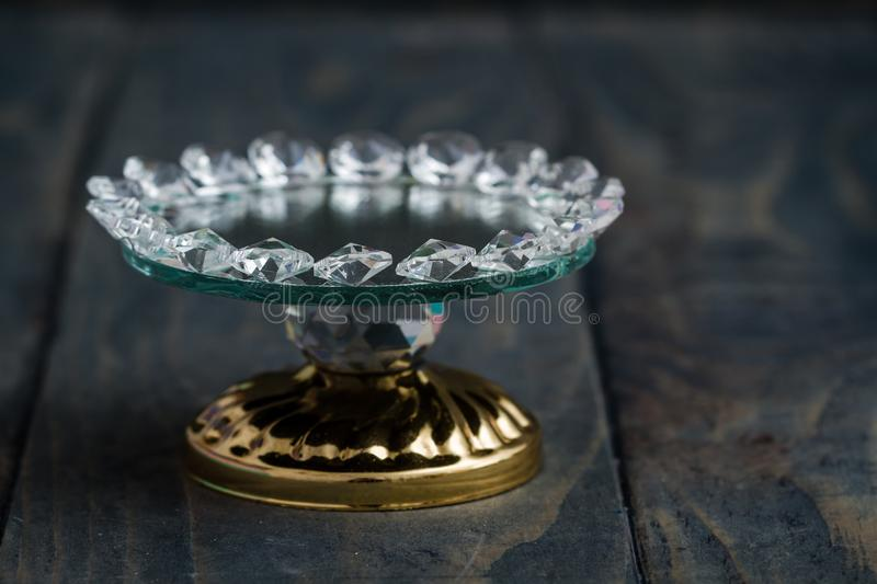 Turkish Delight and Candy Serving Plates with Mirror and Crystal. S royalty free stock photos