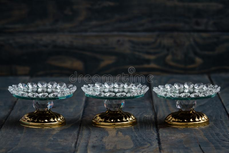 Turkish Delight and Candy Serving Plates with Mirror and Crystal. S royalty free stock photo