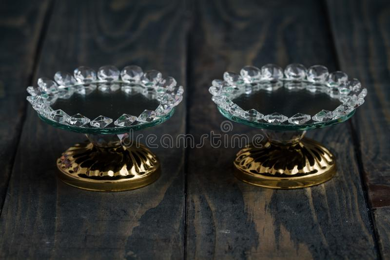 Turkish Delight and Candy Serving Plates with Mirror and Crystal. S stock image