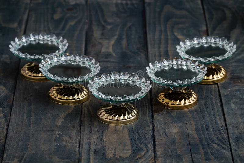 Turkish Delight and Candy Serving Plates with Mirror and Crystal. S royalty free stock images