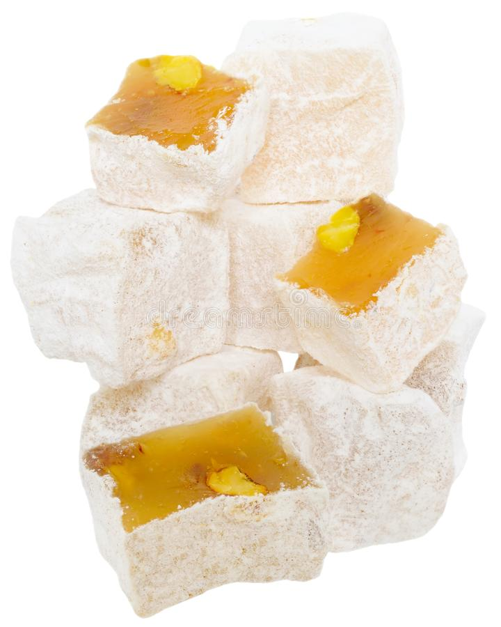 Turkish delight candy tower. Isolated on white background stock photo