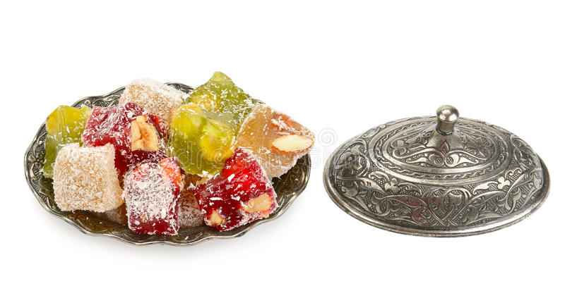 Turkish Delight in a candy on white background. Turkish Delight in a candy isolated on white background stock photos