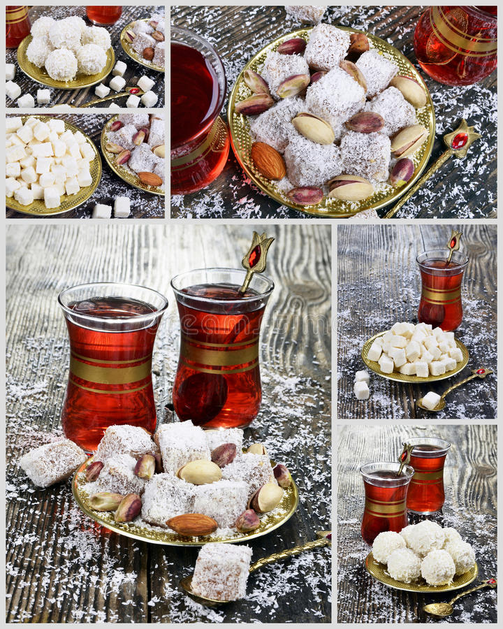 Turkish delight with coconut stock image