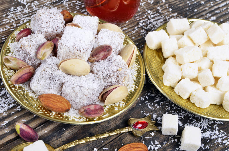 Turkish delight with coconut royalty free stock photography