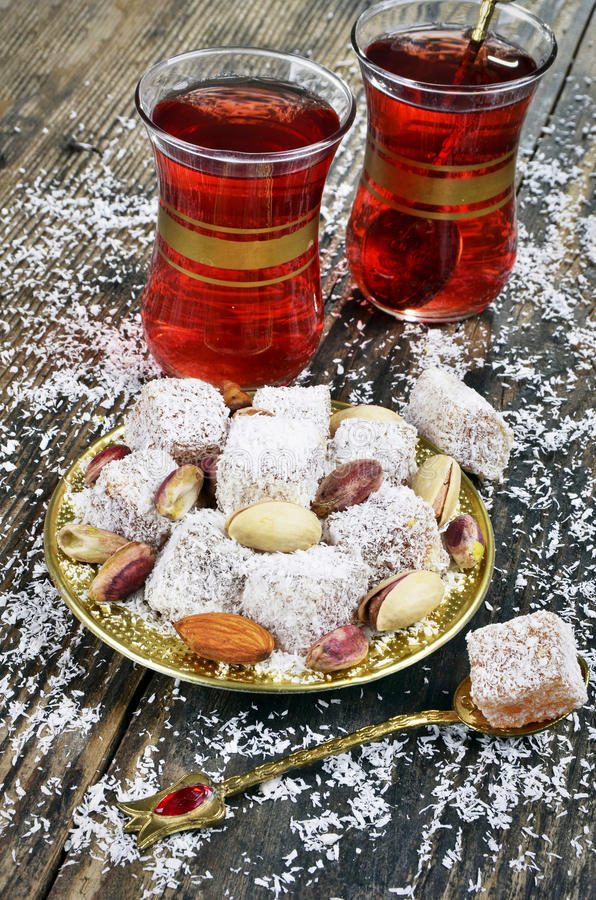 Turkish delight with coconut stock images