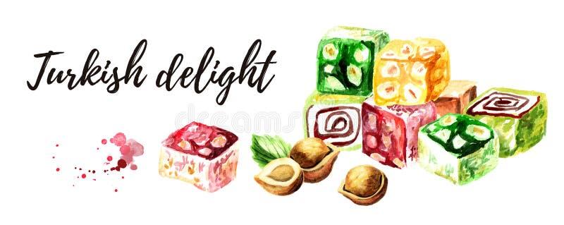 Turkish delight. Colorful Rahat lokum with Hazelnut. Watercolor hand drawn illustration, isolated on white background royalty free illustration